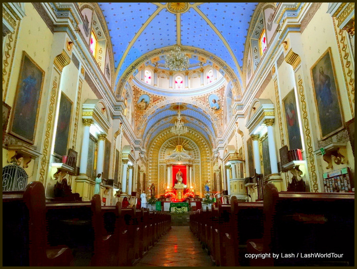 elaborate interior of a Baroque church in Puebla - Mexico