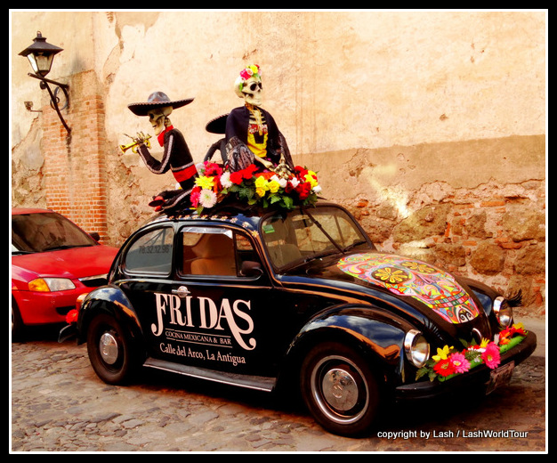 skeleton VW Beetle in Antigua - Guatemala