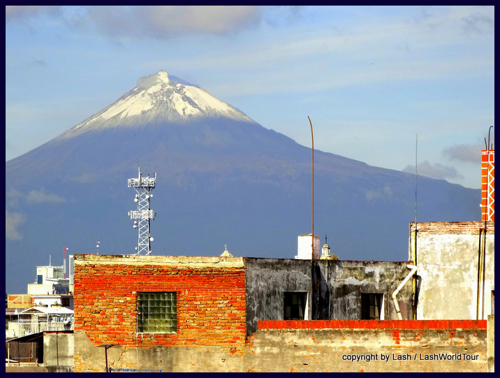 Popo Volcano from a rooftop in Puebla
