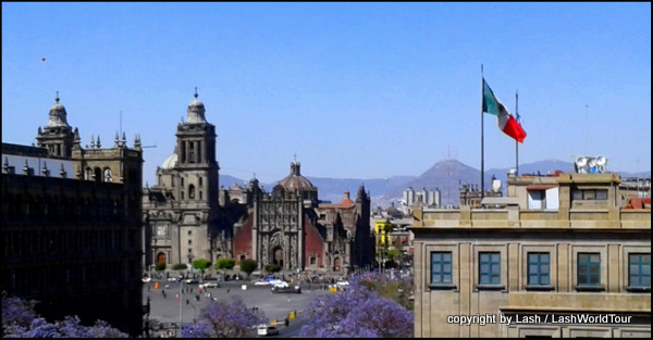 Mexico City - Zocalo plaza and Municipal Cathedral