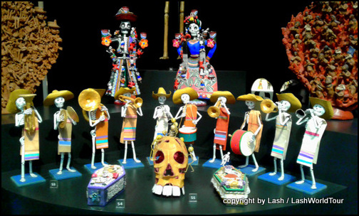 display of skeleton figurines in Museo del Arte Popular