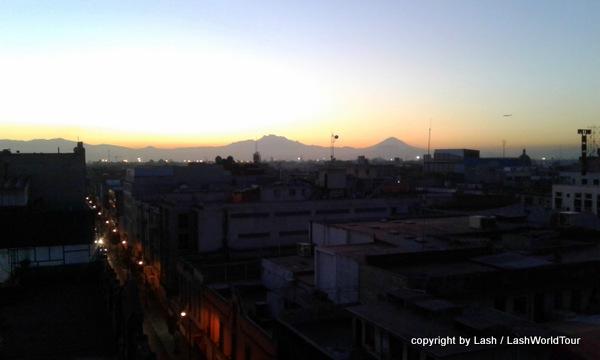 Volcanic peaks surrounding Mexico City at sunrise