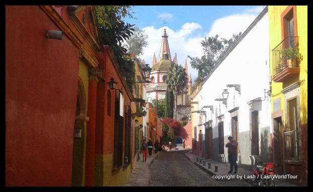 cobble-stone street in San Miguel de Allende - Mexico