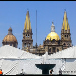Gudalaljara Cathedral - with festival tents in the plaza