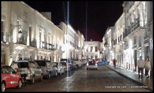 Zacatecas main street illuminated at night