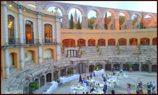 Quinta Real Hotel with historic aqueduct in the background