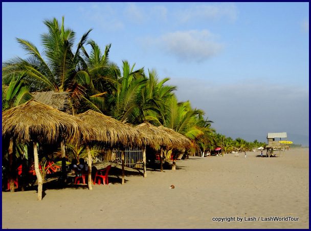 San Blas Beach- restaurants and coconut trees line the beach