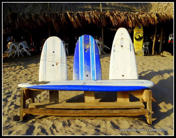 surfboard bench on the sand - San Blas