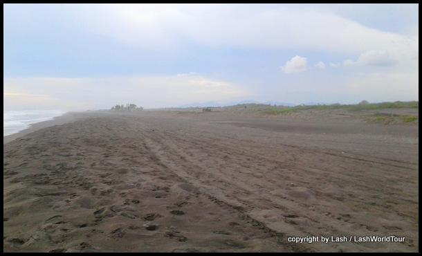volcanic grey sand beach at Cuyutlan Mexico