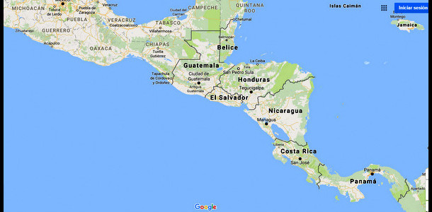 Cenral America MAp by Google
