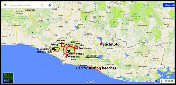 my route through EL Salvador