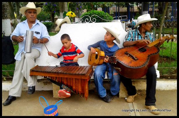 local musicians at Ataco main plaza - Ruta de Flores