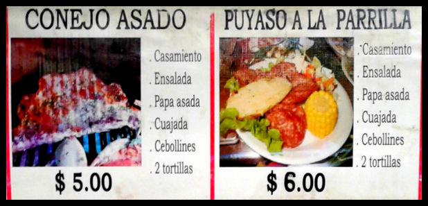 menu at weekend food festival - Juayua - Ruta de Flores - El Salvador