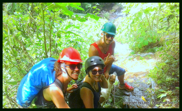 Getting ready to descend the waterfall by rope