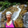 LashWorldTour at waterfalls on Ruta de Flores