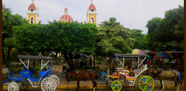 Granada - main plaza - horse & carriages - cathedral