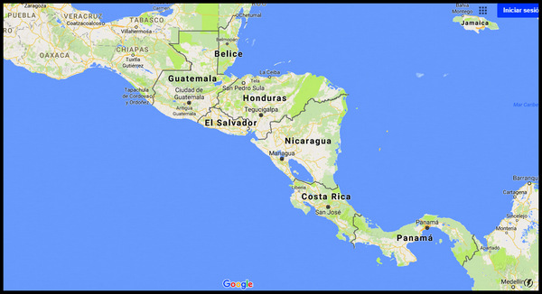 Central America map w Nicaragua