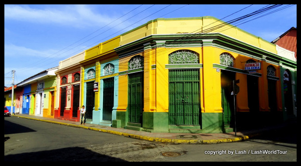 colorful colonial buildings in Leon - Nicaragua