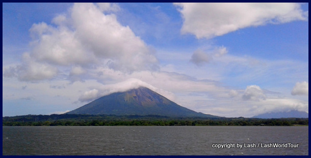 view of Ometepe from ferry